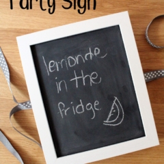 Chalkboard easel party sign that reads