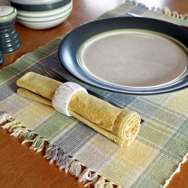 DIY raffia napkin rings from One Mama's Daily Drama.