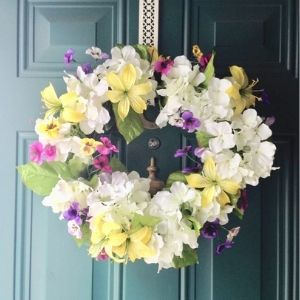 Spring floral wreath from Our Crafty Mom.