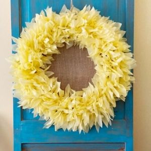 Sunflower wreath on blue door from Our Crafty Mom.