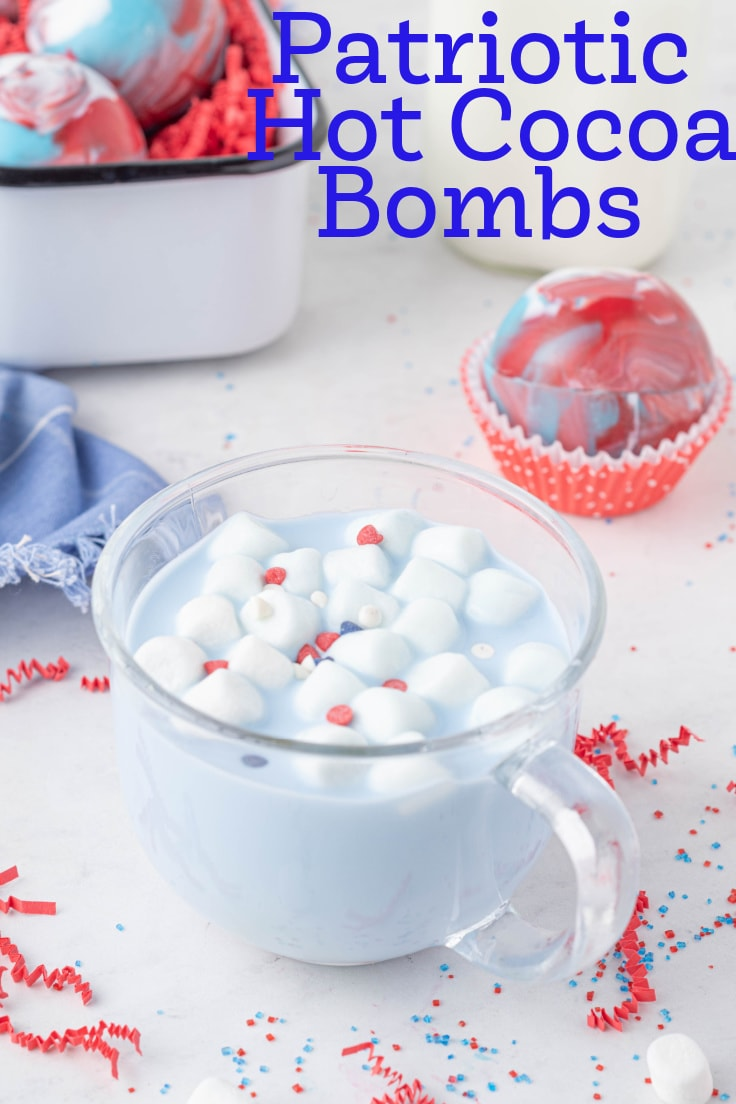 Patriotic hot cocoa bombs in red, white, and blue.