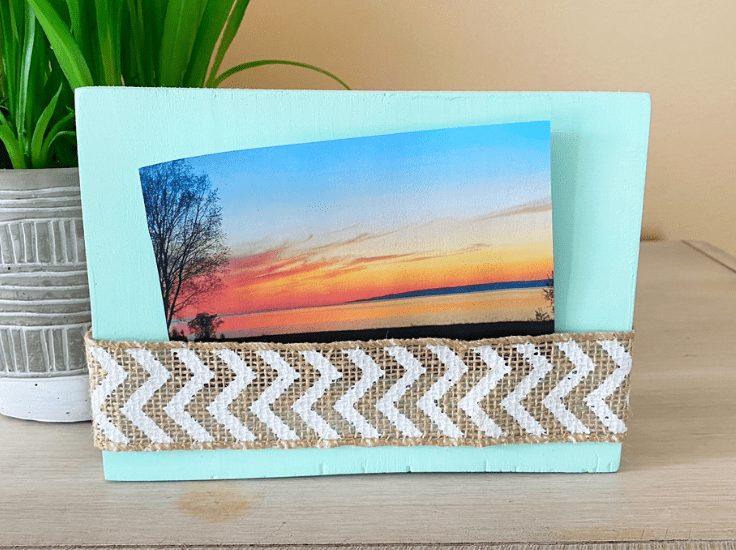 A wood block turned into a photo frame