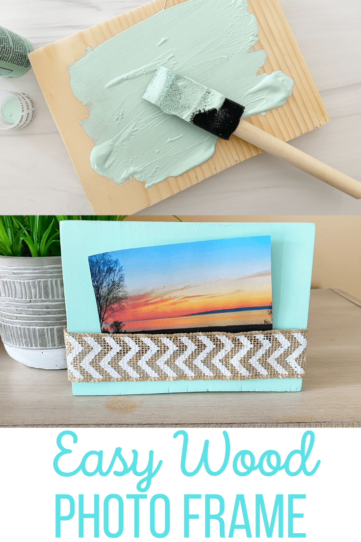 Easy wood photo frame painted green with a burlap ribbon holding a picture of a sunset.