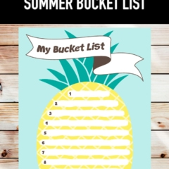 Free printable summer bucket list pineapple art.