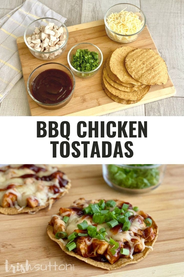 Collage of ingredients for BBQ Chicken Tostadas along with a picture of the finished recipe.