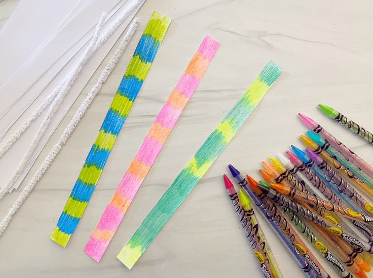 Color each strip with colored pencils however you would like.