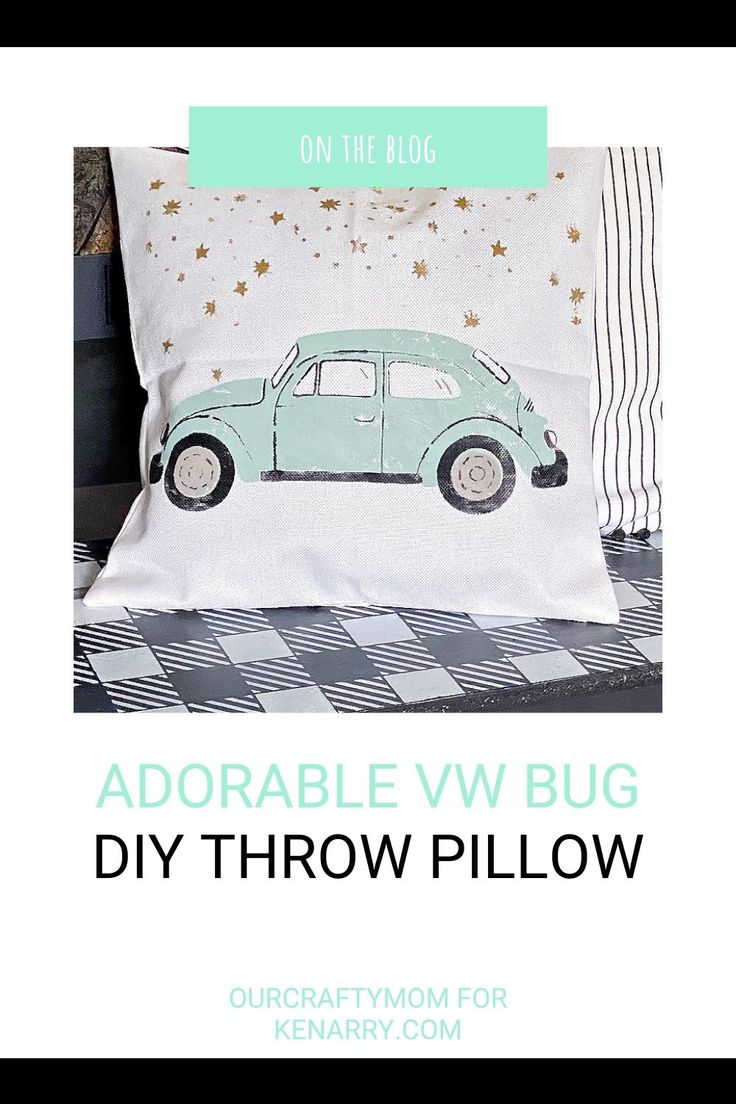 VW bug stenciled DIY throw pillow on bench.