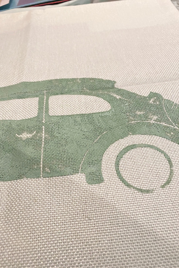 close up of vw bug before black ink is added