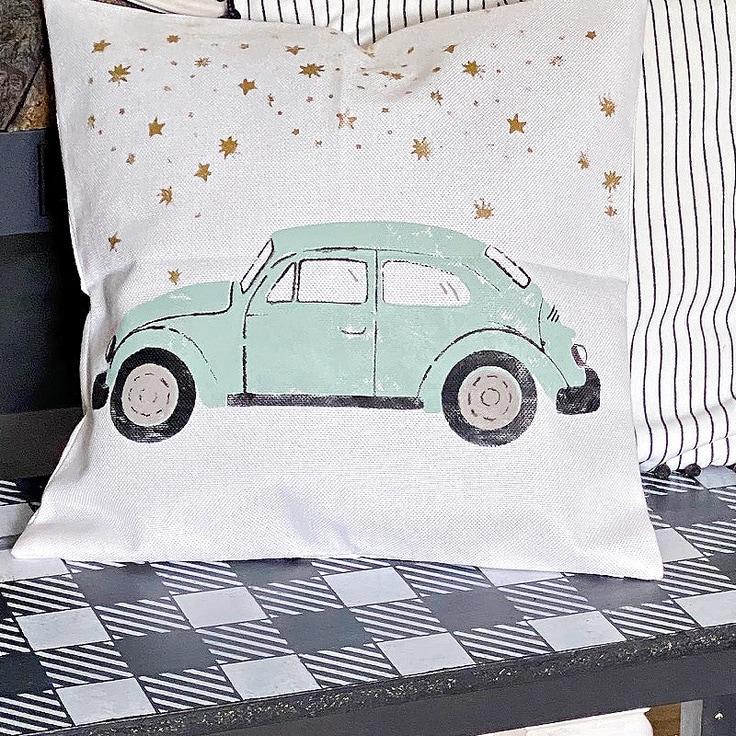 diy throw pillow with VW Bug on bench