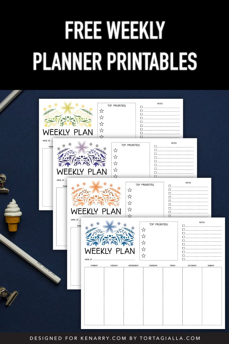 Preview of 4 color variations of weekly planner printable on navy blue background with pencils and stationery clip supplies.