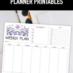 Preview of weekly planner page on top of white desk flatlay.