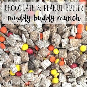 Chocolate and peanut butter muddy buddy munch.