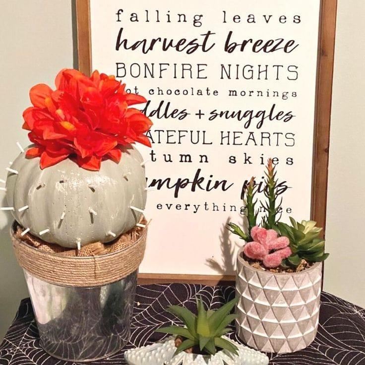 DIY Cactus Pumpkin Made With Dollar Store Supplies