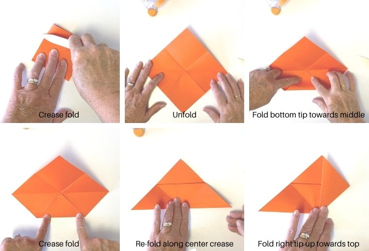 A series of photos showing how to fold an origami bookmark, step by step.