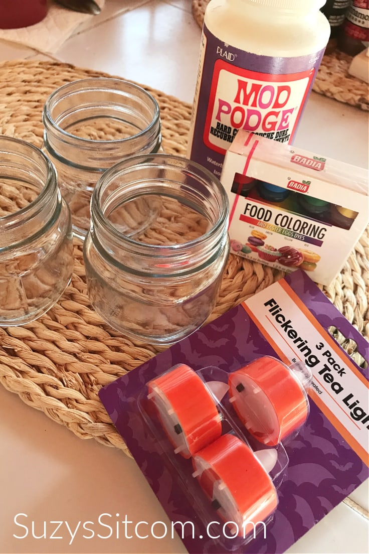 Supplies you need if you want to make fall luminaries - glass mason jars, Mod Podge, food coloring, and battery-operated tea lights
