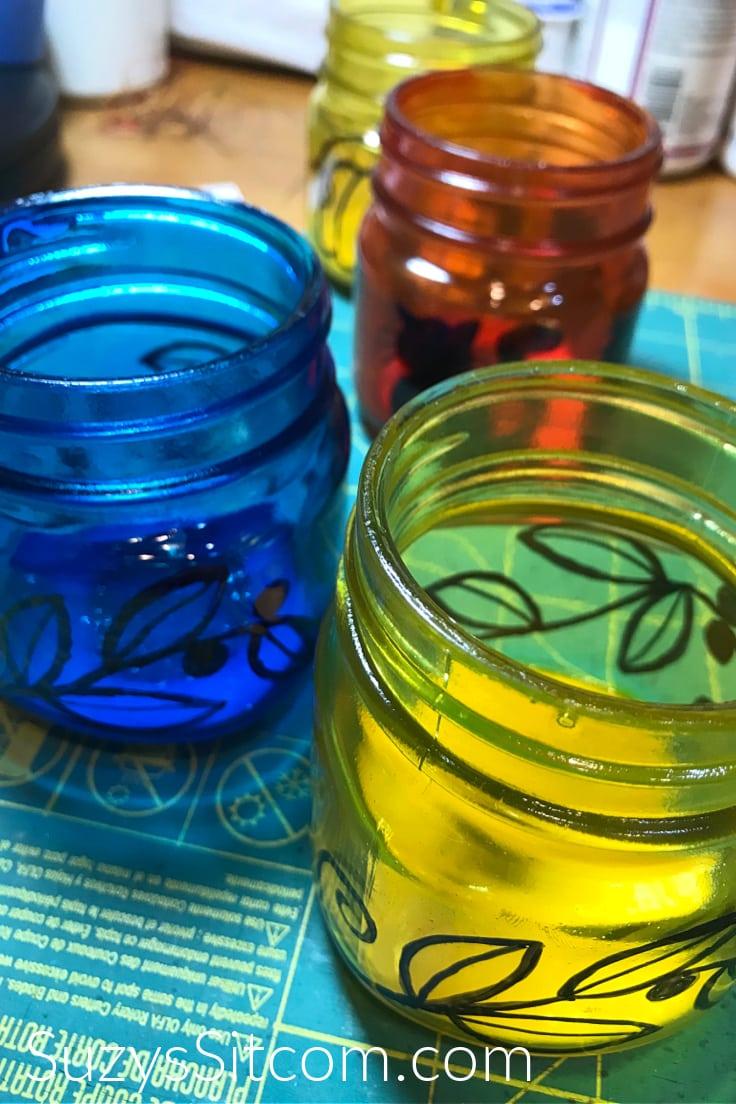 Easy fall luminaries - yellow and blue mason jars