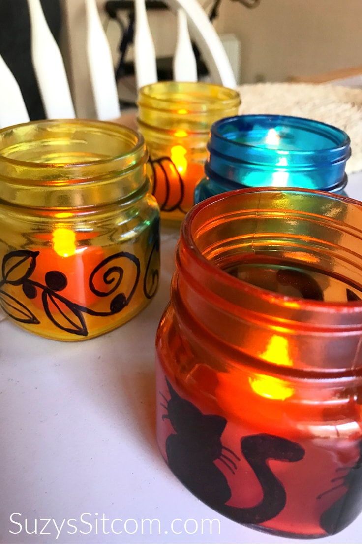 Colorful fall luminaries with battery-operated tea lights