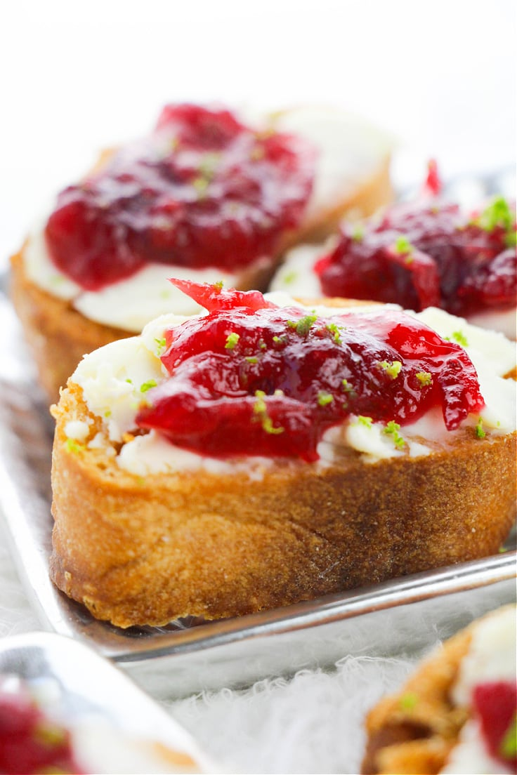 Cranberry and cream cheese on french baguette.