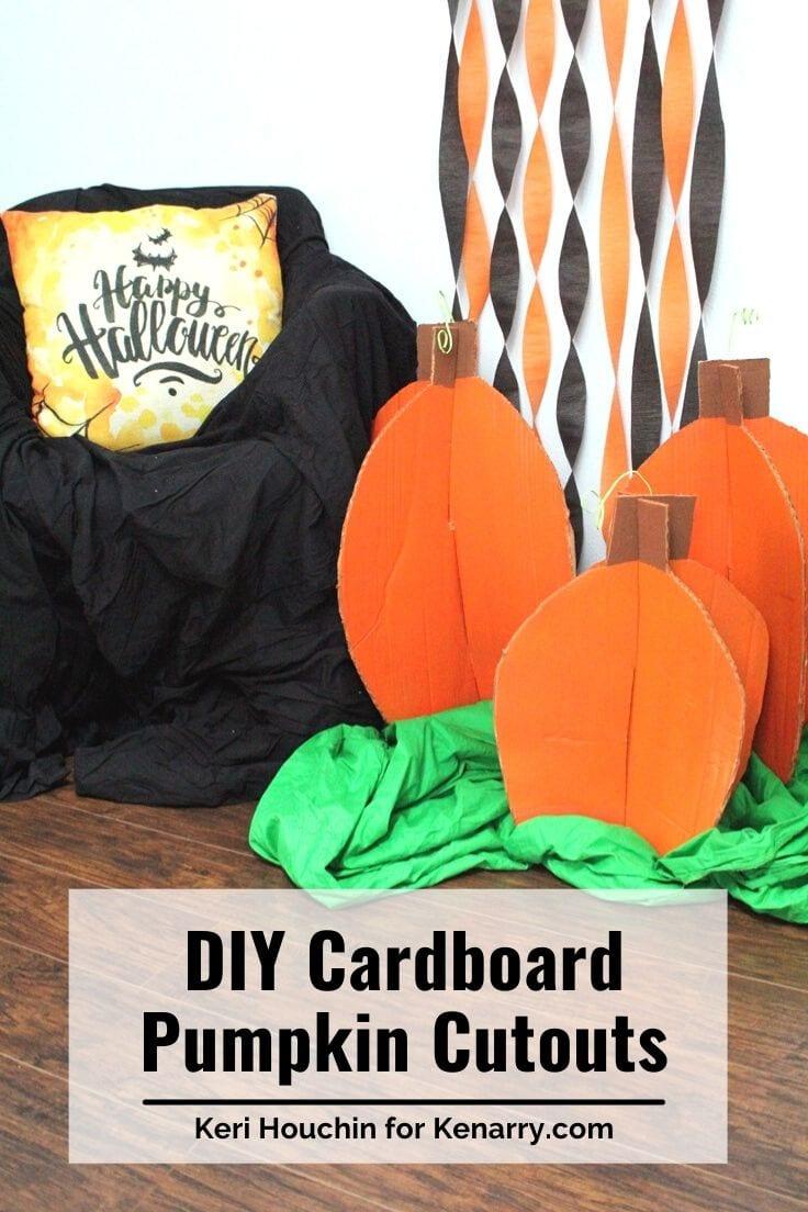 DIY cardboard pumpkin cutouts.