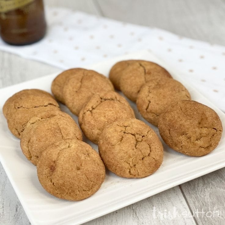 Pumpkin Spice Snickerdoodle Cookies on a white serving plate.