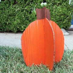 Cardboard pumpkin cutout.