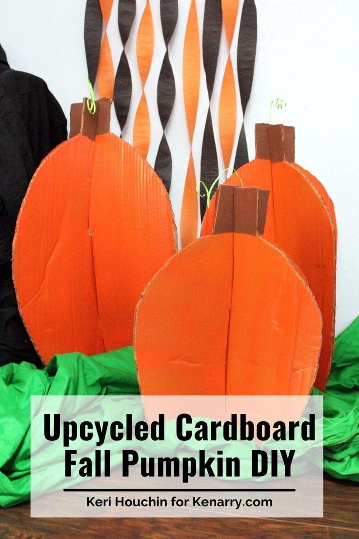 Upcycled cardboard fall pumpkin DIY.